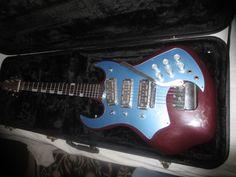 Sandtron Electric Guitar Vintage RARE Unusual Weird Old Unique Bizzare Teisco - 3 gold foils!