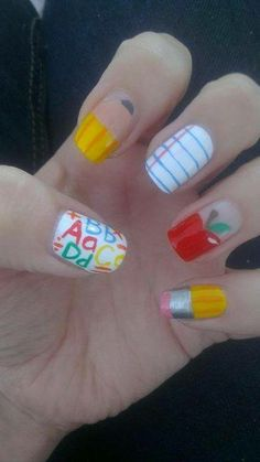 Cute Back To School Nails That Are To Die For Nails! – Cute Back To School Nails That Are To Die ForNot the most studious but let's be honest what is school without thousands of emojis Get Nails, Fancy Nails, Love Nails, How To Do Nails, Pretty Nails, School Nail Art, Back To School Nails, Fingernail Designs, Cute Nail Designs