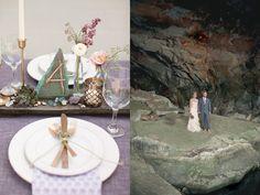 Rock Quarry Wedding Inspiration  Love the centerpieces