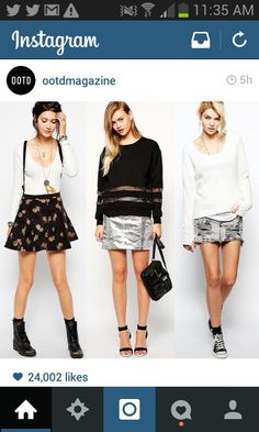 I love the middle one. And I like the shoes,socks and jumper in the last..dunno if I could ever wear a ripped skirt like that though :P aaand i like the shoes on the first one!