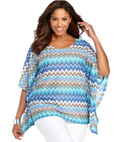 Style Plus Size Top, Batwing Sleeve Printed - Plus Size Tops - Plus Sizes - Macy's