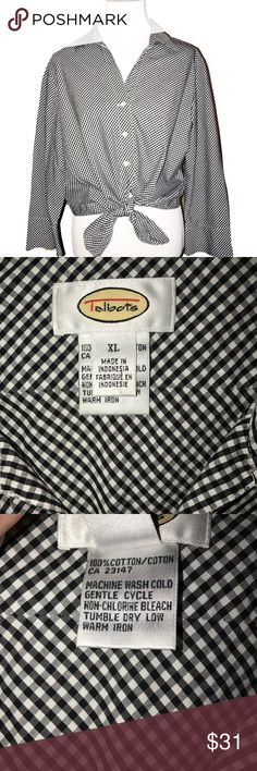 Talbots Front Tie Black White Check Buttondown Talbots black and white check print buttondown. Ties at front waist, blousy fit, long sleeve, v neck. Excellent condition. Talbots Tops Button Down Shirts