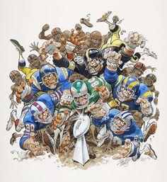 "Jack Davis Battle for the Lombardi Trophy"" Illustration Original Art (NFL Properties, c. Football Art, Vintage Football, Football Stuff, Sport Football, Cartoon Sketches, Cartoon Art, Travis Scott, Chicago Bears, Rugby"