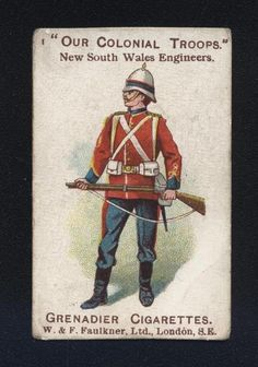 FAULKNER OUR COLONIAL TROOPS NO 1 NEW SOUTH WALES ENGINEERS in Collectables, Cigarette/ Tea/ Gum Cards, Cigarette Cards | eBay Army Badges, South Wales, Engineers, Troops, Colonial, Australia, Tea, Baseball Cards, Vintage