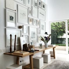 Gallery wall, rustic modern console