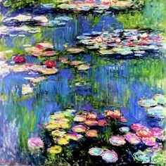 Inspiration! Water lilies - Monet  I am drawn to the softness, the movement, the vibrancy, and the tranquility of Monet's work
