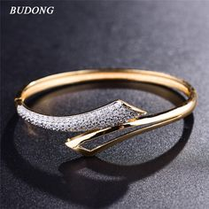 BUDONG Infinity Fashion Love Bangle for Women  Silver/Gold-Color  Bracelet White CZ Zirconia Wedding Jewelry XUZ034