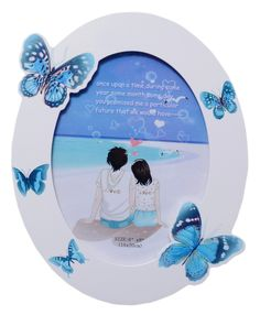 UberLyfe Valentine's Day Special MDF Wood, Oval Shaped White Photo Frame with Blue Butterflies - 6 by 8