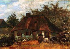 "VAN GOGH, ""COTTAGE AND WOMAN WITH GOAT"" 1885 #vangogh #art #painting #vincent #artwit #twitart #iloveart #artist"