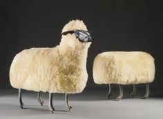 """design-is-fine: """"Francois-Xavier Lalanne, Sheep and ottoman, 1965 onward. Via ubiquodesign Coco Chanel reportedly had a flock of them in her living room and there were 12 on display in the library of Yves Saint Laurent."""
