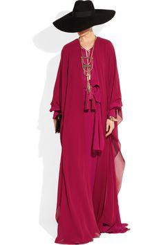 Saint Laurent                                  Belted silk-georgette gown