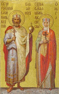 19th cent. mosaic of Vladimir the Great and St. Olga (10th cent.). St. Isaac's Cathedral, St. Petersburg.