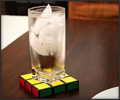 Rubik's Cube Coasters, would be cute for a game room.