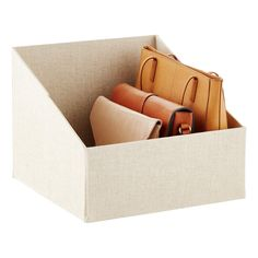 For storing purses, linens or folded garments, our Purse Storage Bin does the job beautifully. It& generously sized to hold plenty of items. There& a label on the back to keep items out of sight while still being able to identify them quickly. Bench With Shoe Storage, Linen Storage, Clothing Storage, Storage Bins, Storage Spaces, Cardboard Storage, Entryway Storage, Diy Cardboard, Bedroom Storage