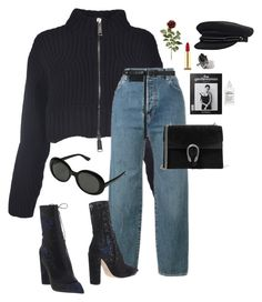 """""""Untitled #945"""" by andressabrandao1 ❤ liked on Polyvore featuring Dsquared2, Levi's, Yves Saint Laurent, Christian Dior, Kevyn Aucoin, Y/Project, Gucci and Maison Margiela"""
