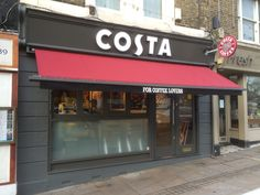Wow check out this intersting garage awning - what an imaginative style and design Awning Shade, Costa Coffee, Coffee Store, Coffee Shop Design, Cafe Interior, Shades, Architecture, Brand Identity, Alternative