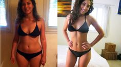 Picture of Shir in a bathing suit, before and after shots