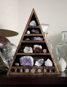 Moon Phase Large Crystal and Mineral collection in handmade wood-burned shelf by stoneandviolet on Etsy Recreating this