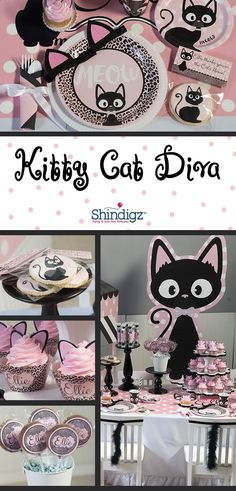 Make her party absolutely PURRRR-FECT with our Kitty Cat Diva Party Supplies. This adorable theme combines the colors of pale pink and black with kitties, leopard print and polka dots. get some yourself some pawtastic adorable cat apparel! Cat Themed Parties, 2nd Birthday Parties, Girl Birthday, Birthday Ideas, Diva Party, Kitten Party, Partys, Animal Party, Party Planning