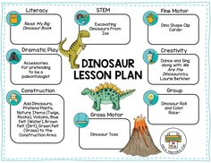 Dinosaur Preschool Activities, Free Sample Lesson Plan and Lesson Planning Ideas science for preschoolers preschool activities preschool crafts kindergarten Dinosaur Theme Preschool, Dinosaur Classroom, Dinosaur Activities, Preschool Learning Activities, Preschool Classroom, Dinosaur Worksheets, Summer Preschool Themes, Daycare Curriculum, Dinosaur Crafts