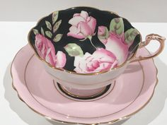 Pink Rose Paragon Tea Cup and Saucer, Double Warranty Paragon, English Bone China Cups, Pink Rose Cups, Antique Teacups, Vintage Tea Cups by AprilsLuxuries on Etsy