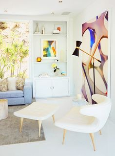 wall art...Tour a Celebrity Photographer's Airy Midcentury L.A. Home via @mydomaine