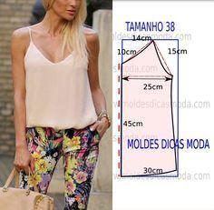 Faça a analise de forma detalhada do desenhe do molde de blusa. Blusa simples e bela, veste de forma descontraída e elegante.