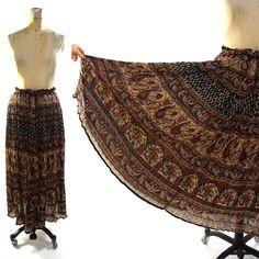Vintage+Indian+Cotton+Gauze+Maxi+Skirt+/+Ethnic+by+SpunkVintage,+$36.00