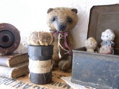 Old Bear, tin boxes, books and porcelain dolls - LOVE