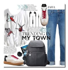 School Style by beebeely-look on Polyvore featuring Paige Denim, Alexander Wang, school, jeans, sneakers, back2school and zaful