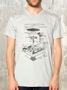 This mens shirt showcases an exploded blueprint illustration of a vinyl record player showcasing every last nut and bolt of this awesome