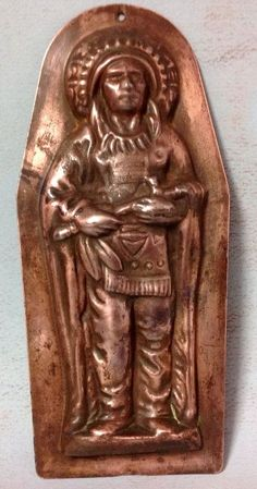 Antique RED Indian Chief Peace Pipe Chocolate Mould Coppered