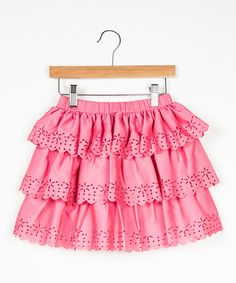 Look at this Pink Eyelet Snowflake Skirt - Girls on #zulily today!