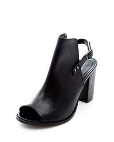 Black Sling Back Peeptoe Chunky Heels  | New Look