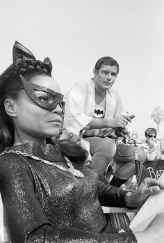 Eartha Kitt and Adam West on Batman set