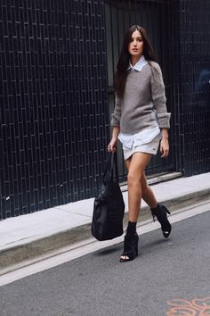 knit/shirt combo. Sydney. #TheChroniclesOfHer