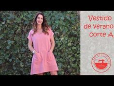 Vestido fácil línea evasé con patrones gratis - YouTube Short Sleeve Dresses, Dresses With Sleeves, Lily Pulitzer, Couture, Sewing, Crochet, Casual, Projects, Blog
