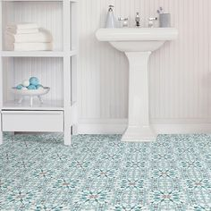 Floorpops Radiance Peel & Stick Floor Tiles In Blue (Set Of 20) - With these FloorPops Radiance Stick & Peel Floor Tiles, installing new floor tiles has never been easier. These vinyl tiles simply peel and stick to the floor with no tools required, and feature an intricate kaleidoscopic pattern in a blue finish. Laundry Room Tile, Bathroom Floor Tiles, Tile Floor, Vinyl Tiles, Vinyl Flooring, Kitchen Flooring, Flooring Ideas, Laminate Flooring, Peel And Stick Floor