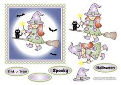 """Little Witch Halloween Topper on Craftsuprint designed by Janet Roberts - This cute Halloween topper will fit the front of a 6"""" x 6"""" card blank - Now available for download!"""