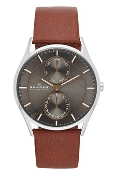 Free shipping and returns on Skagen 'Holst' Multifunction Leather Strap Watch, 40mm at Nordstrom.com. Two clean subdials display the day and date on a handsome round watch set atop a rich leather strap.