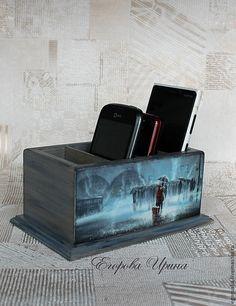 Купить Подставка для пультов и телефонов Романтика дождя - серый, голубой, подставка, подставка для пультов