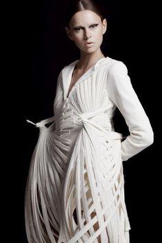 Wearable Art - sculptural bird inspired dress with woven skeletal structure - architectural fashion design // Mark Goldenberg: