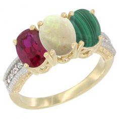 14K Yellow Gold Enhanced Ruby, Natural Opal
