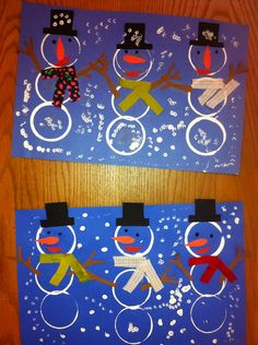 K Snowmen- printing with a cup- Qtip snow. Elementary art(art teacher: v. giannetto)