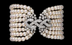 Platinum, cultured pearls, brilliants bracelet - Cartier.