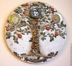 """Символизм ручной работы. Ярмарка Мастеров - ручная работа. Купить """"Благое древо""""-панно. Handmade. Древо жизни, птица счастья"""