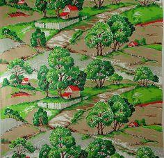 "Vintage Early Farm Scene Barkcloth Fabric Vibrant Colors - Unused 35"" x 9+ Yards"