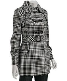 black plaid canvas 'Donney' belted trenchcoat