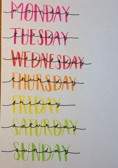 Days of the week lettering (great for bullet journals)