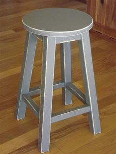 "Reclaimed wood/ Primitive/ round stool/ counter stool/ painted/ gray/ 24"" H"